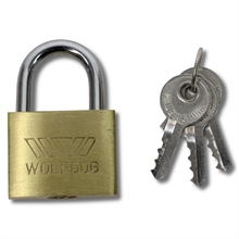 WOLFDOG Box of 12 - 30mm Brass Padlocks-locks-Mitchells Adventure