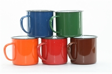 OUTBOUND 9cm Enamel Mug Assorted Colours-camping-plates-and-cutlery-Mitchells Adventure