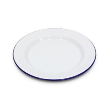 22cm ENAMEL FLAT PLATE WHITE-to-eat-with-Mitchells Adventure