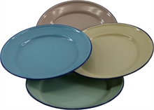 24cm ENAMEL FLAT PLATE ASSORTED COLOUR-to-eat-with-Mitchells Adventure