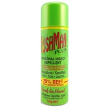 BUSHMAN 150G Aerosol Green Deet-20 With Sunscreen-mosquito-nets-and-repelants-Mitchells Adventure