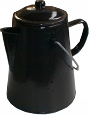 BLACK ENAMEL COFFEE POT-to-cook-in-Mitchells Adventure